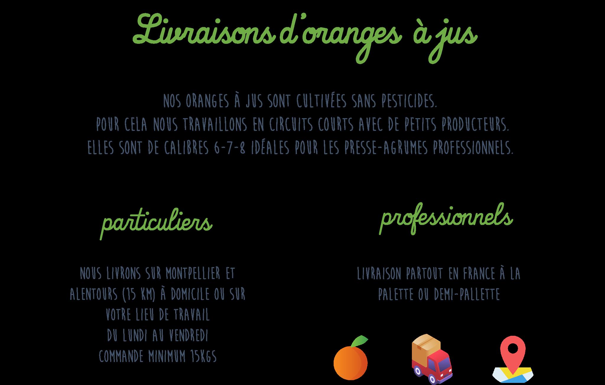 La Petite Orange propose la livraison d'oranges à jus à Montpellier. Nos oranges sont cultivées sans pesticides. Livraison gratuite 365 jours par an.